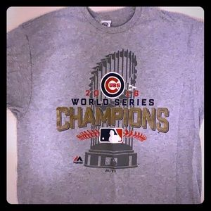 Cubs World Series t-shirt men's large gray cotton